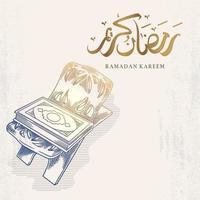 La tarjeta de felicitación de Ramadán Kareem con corán dibujado a mano y caligrafía árabe significa santo Ramadán. vector