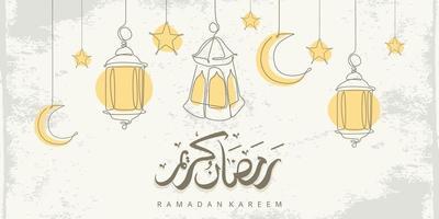 La tarjeta de felicitación de Ramadán Kareem con adornos islámicos de una línea y caligrafía significa Ramadán de acebo. Ilustración de vector dibujado a mano vintage aislado sobre fondo blanco.