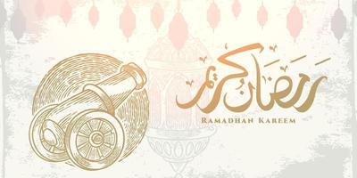 Tarjeta de felicitación de Ramadán Kareem con dibujo de artillero dorado, linterna colgante y caligrafía árabe significa Ramadán de acebo. boceto estilo dibujado a mano aislado sobre fondo blanco. vector