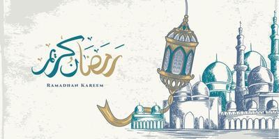 La tarjeta de felicitación de Ramadán Kareem con una gran linterna, una gran mezquita y caligrafía árabe significa acebo Ramadán. boceto dibujado a mano elegante diseño aislado sobre fondo blanco. vector