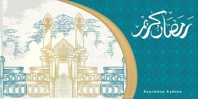 La tarjeta de felicitación de Ramadán Kareem con un gran bosquejo de mezquita, adornos islámicos y caligrafía árabe significa acebo Ramadán. boceto dibujado a mano elegante diseño. vector