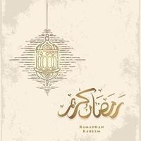 Tarjeta de felicitación de Ramadán Kareem con boceto de linterna dorada y caligrafía árabe significa acebo Ramadán. dibujado a mano vintage aislado sobre fondo blanco. vector