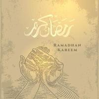 tarjeta de felicitación de Ramadán Kareem con dibujo a mano rezando y caligrafía árabe significa acebo Ramadán. vector