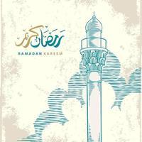 Tarjeta de felicitación de Ramadán Kareem con la torre de la mezquita grande azul y el bosquejo del cielo. La caligrafía árabe significa acebo ramadán. boceto dibujado a mano elegante diseño aislado sobre fondo blanco. vector