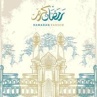 Tarjeta de felicitación de Ramadán Kareem con dibujo de mezquita grande dorada y azul y caligrafía árabe dorada significa Ramadán de acebo. boceto dibujado a mano elegante diseño aislado sobre fondo blanco. vector