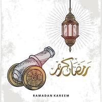tarjeta de felicitación de Ramadán Kareem con linterna y artillero. La caligrafía árabe significa acebo ramadán. Ilustración de vector dibujado a mano vintage aislado sobre fondo blanco.