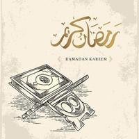 Tarjeta de felicitación de Ramadán Kareem con dibujo de Corán dibujado a mano y caligrafía árabe dorada significa Ramadán santo aislado sobre fondo blanco. vector