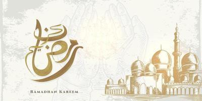 La tarjeta de felicitación de Ramadán Kareem con un gran bosquejo de mezquita y caligrafía árabe significa acebo Ramadán aislado sobre fondo blanco. vector