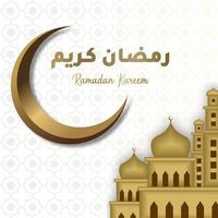 Ramadan Kareem greeting card with golden crescent, golden big mosque and Arabic calligraphy means Holly Ramadan. Hand drawn sketch elegant design Isolated on white background. vector