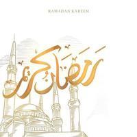 La tarjeta de felicitación de Ramadán Kareem con un gran dibujo de mezquita y caligrafía árabe dorada significa Ramadán de acebo. boceto dibujado a mano elegante diseño aislado sobre fondo blanco. vector