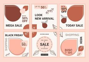 Social media post template design flash sale, elegant square cover layout design. Feminist editable modern minimal square banner templates with soft pink pastel color. Vector fashion sale concept