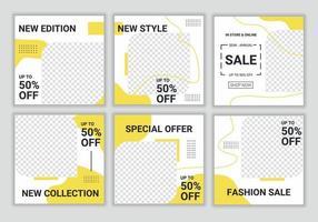 diapositivas plantilla de banner de medios sociales modernos editables abstractos en color amarillo y blanco. diseño de fondo con espacio de copia para texto e imágenes. elegante promoción de venta y descuento. ilustración vectorial vector