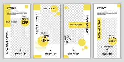 Collection of social media business, fashion, brand ad templates set for posts and stories advertising. Design backgrounds for social media. Ig story covers for promo big sale. Vector illustration