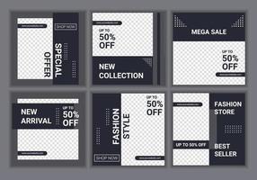 Colección de 6 conjuntos de diseño de plantillas de diseño cuadrado para publicaciones en redes sociales. plantillas de blogs de moda y estilo de vida, banners web, diseños de folletos con marcador de posición para fotos. vector de fondo de venta promocional