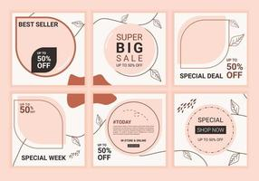 Social media endless feed template with pink pastel color. Set of editable puzzle grid for business or personal account. A set of customizable vector layouts on soft color background.