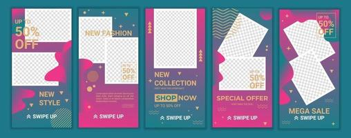 Trendy square abstract templates in gradient colors. Suitable for social media stories, mobile apps, coupon, banners design and web internet ads. Fashion clearance sale concept. Vector illustration.