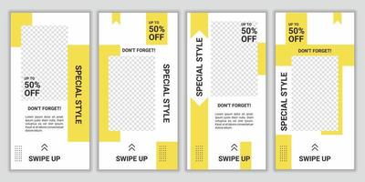 Sale discount social media template design set in trendy fresh yellow and white color combination for promotion, ad, brochure, flyer. Modern background for advertising. Vector illustration