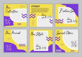 Paquete de plantillas de diseño de publicaciones de redes sociales de venta de moda premium con fondo de color amarillo y morado. Adecuado para publicaciones en redes sociales y anuncios web en Internet. ilustración vectorial vector