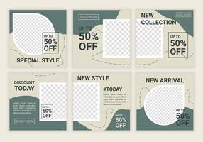 Paquete premium de plantilla de diseño de publicación de redes sociales de venta de moda para oferta especial en color gris pastel. bueno para pancarta digital, póster, diseño digital. ilustración vectorial. color verde vector
