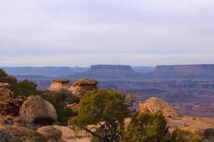 Canyon view of layered sandstone photo