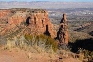 Pinnacles of layered sandstone photo
