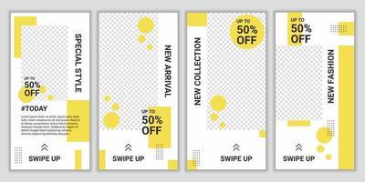 conjunto de diseño de plantilla de banner de venta con colegio fotográfico en color amarillo claro y blanco. plantilla editable de moda para historias y publicaciones de redes sociales. maqueta para publicidad. ilustración vectorial vector