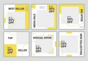 Set collection of square banner template. White and yellow background color with stripe line shape. Fashion sale. Promotional web banner for social media. Vector illustration with photo college