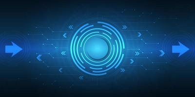 Digital hi-tech with circle and arrow technology background. vector