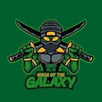 Ninja alien samurai head mascot logo for e-sport gaming and e-sport team. Cool ninja with two swords template logo design element. Green ninja alien professional gamer character. Vector illustration