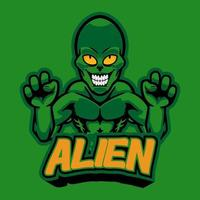 Professional logo aggressive alien, sport mascot, e-sports label. Scary green monster alien mascot vector illustration logo for your e-sports team, personal, company or printed for clothes.