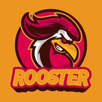 Rooster mascot e-sport logo design.  Chicken rooster head mascot. Emblem design with wild animal concept can be used for symbols of your e-sports team attractive symbols. Vector illustration