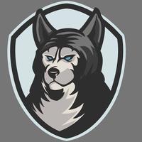 Danger wolves mascot e-sport logo design isolated on grey background. Werewolf monster mascot vector illustration logo. Professional wolf logo for a sport team. Modern template design