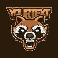 Angry vintage raccoon head sports logo mascot design illustration for sport and e-sport or gaming team. Wild raccoon mascot, template design isolated on retro color background. Vector illustration