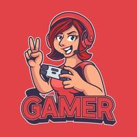 Gamer girl mascot gaming e-sport logo template. Beautiful ladies character with headphone and holding joystick isolated on red background. Sport illustration design for logo e-sport gaming team squad vector
