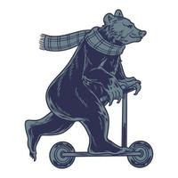 Cool bear wearing scarf on scooter. Vintage fun teddy bear on kick scooter, enjoy riding isolated on a white background. Can be used for t-shirt print,  kids wear fashion design and other uses vector