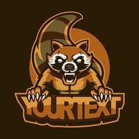 Raccoon mascot illustration for sport and e-sport or gaming team. Emblem design with wild animal concept can be used for symbols of your e-sports team or printed for clothes, attractive symbols vector