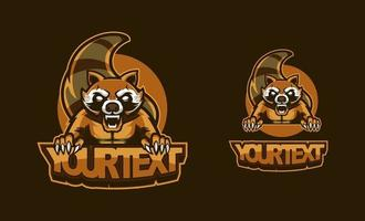 Raccoon logo set. A fearless raccoon in vintage style. Template design element for company logo, label, emblem, apparel or other merchandise. Raccoon animal mascot vector illustration