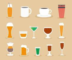 A collection of drink vector icons.  Tea, coffee, alcohol, wine, beer, mineral water, fizzy water, smoothie, cocktail, juice.