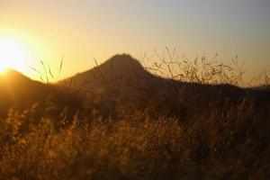 Mountains at sunset in California photo