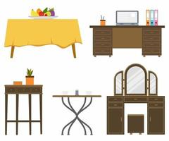 Set of different living room tables, includes home office desk, dining table, dresser table, corner table and coffee table in flat style. Interior furniture concept. Vector graphic design template