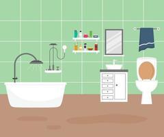 juego para el baño con muebles cómodos y elegantes y decoraciones modernas para el hogar en un estilo moderno. La acogedora casa interior amueblada incluye ducha, espejo, lavabo, bañera y toalla. ilustración vectorial de dibujos animados plana vector