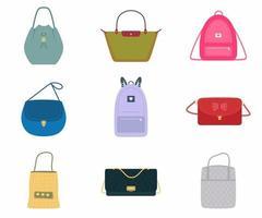 un conjunto de bolsos de mujer, un bolso de moda con un surtido de colores: bolso, mochila, bolso de mano, cubo. moda de diferentes tipos aislados sobre fondo blanco. diseño plano, ilustración vectorial vector