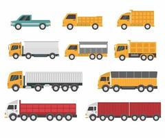 Vector collection of truck for transportation of goods. Vehicle for delivery, shown from different sides. Modern flat cartoon style isolated on white background. Set featuring cargo trucks and vans