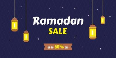 Ramadan Kareem concept horizontal banners with flat cartoon icons. Happy Eid Mubarak with traditional lanterns isolated on navy blue background. Islamic muslim celebration. Vector illustration.