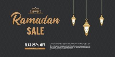 Ramadán mega ofrece diseño de banner con linternas colgantes árabes tradicionales y oferta de descuento sobre fondo negro. signo de logotipo de promoción de marketing empresarial de concepto. vector ilustración plana