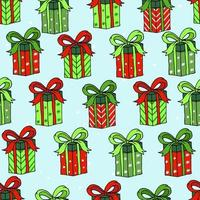 Christmas pattern design with gift boxes. Print for wrapping paper and holiday design elements. vector