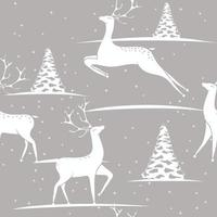 Seamless Christmas pattern - deers and trees with  stars. Grey Happy New Year background. Vector design for fabric and kitchen textil.