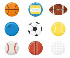 Set of sports balls flat style icons volleyball, basketball, football, cricket, american football, bowling, baseball, tennis, golf. Vector sport illustration isolated on white background