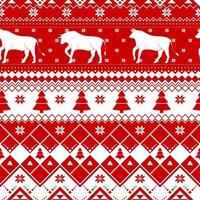 Seamless Christmas pattern - varied Xmas cows with norway ornaments. Red and white Happy New Year background. Vector design for winter holidays. Print for fabric.