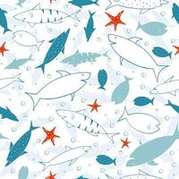 Blue funny print with sharks, fish and star. Print for fabric and wrapping paper. vector